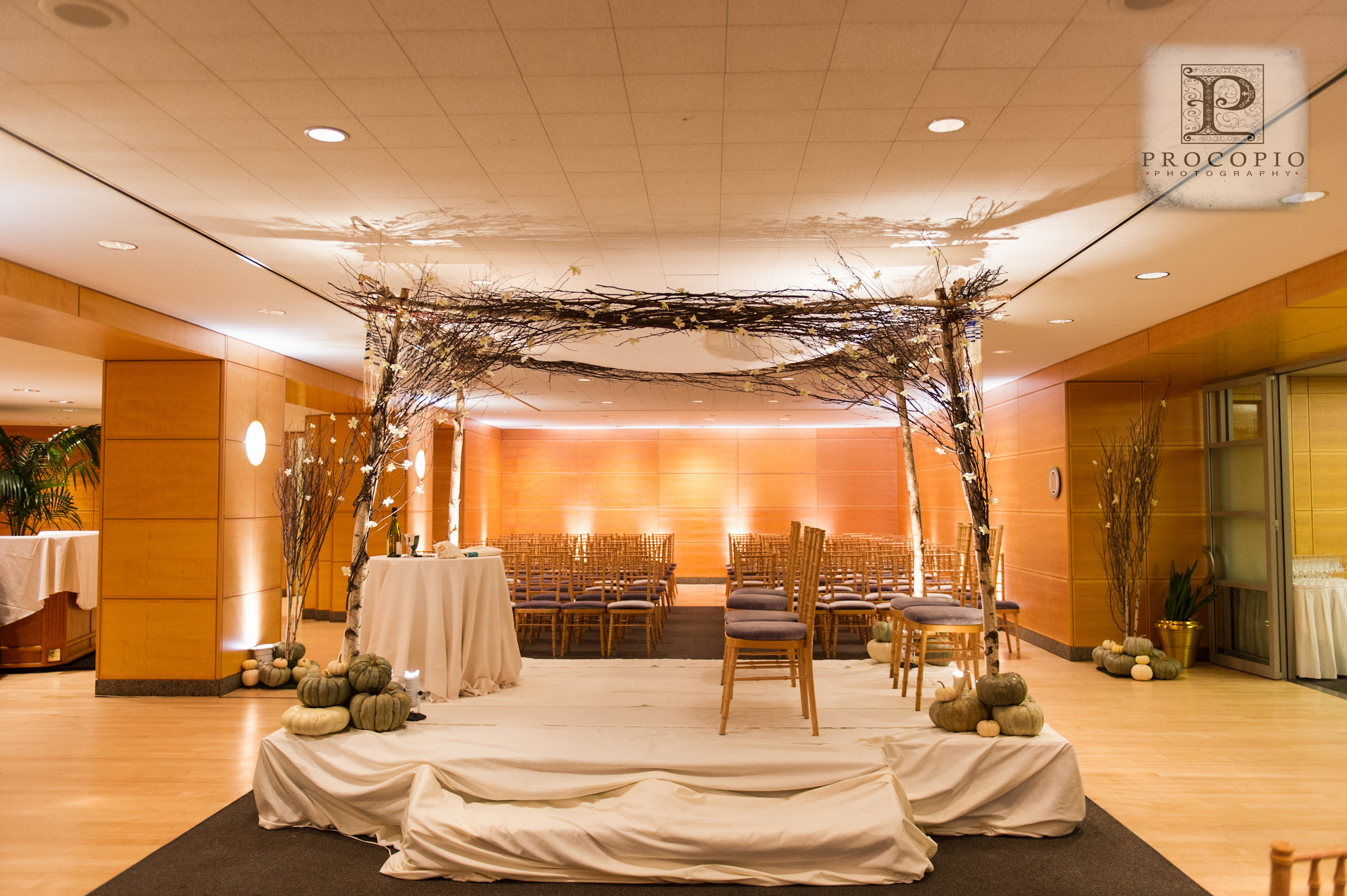 Pumpkins stacked around the base of the custom built birch chuppah and the base of the trees.
