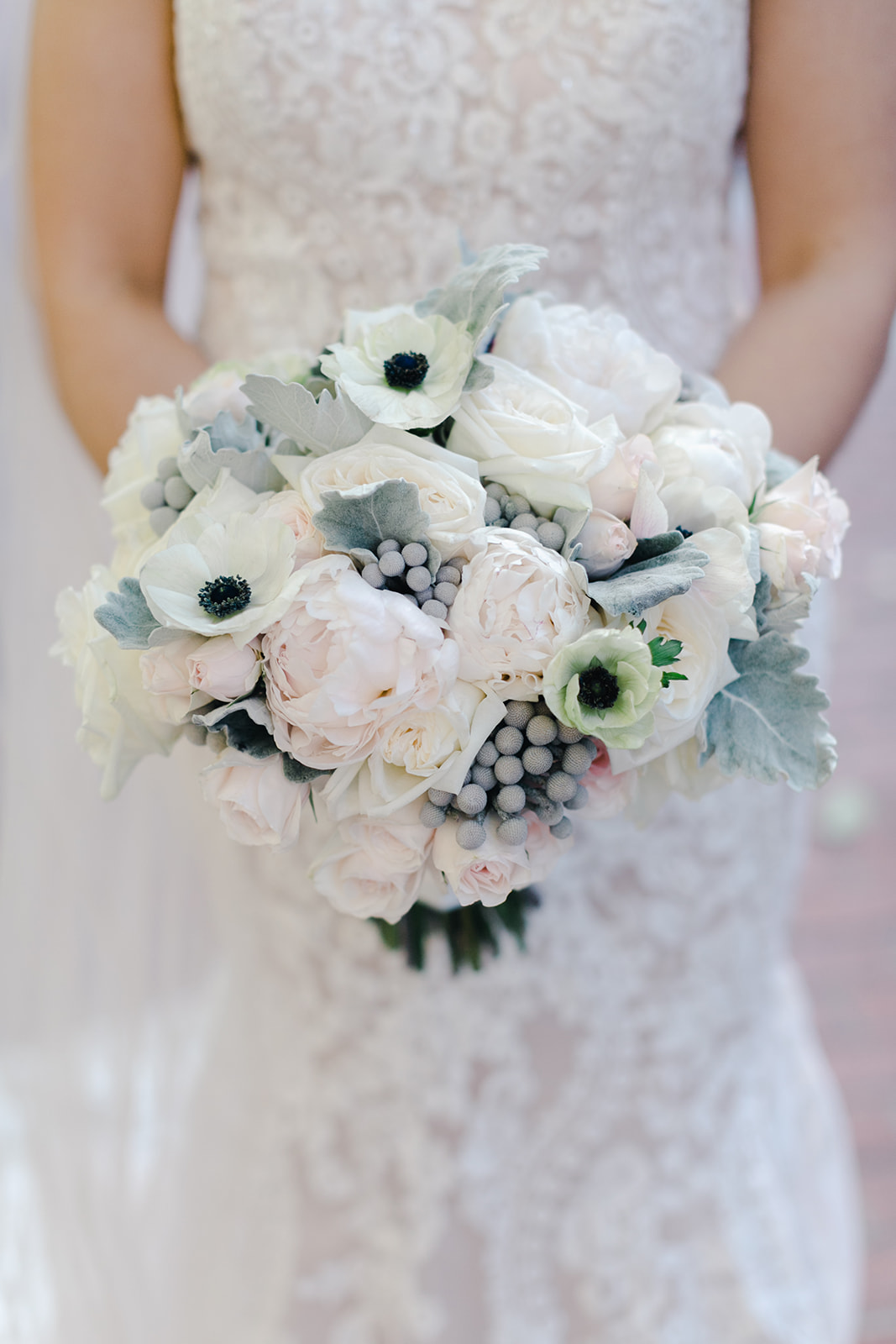 Blush white and gray bouquet by B Floral
