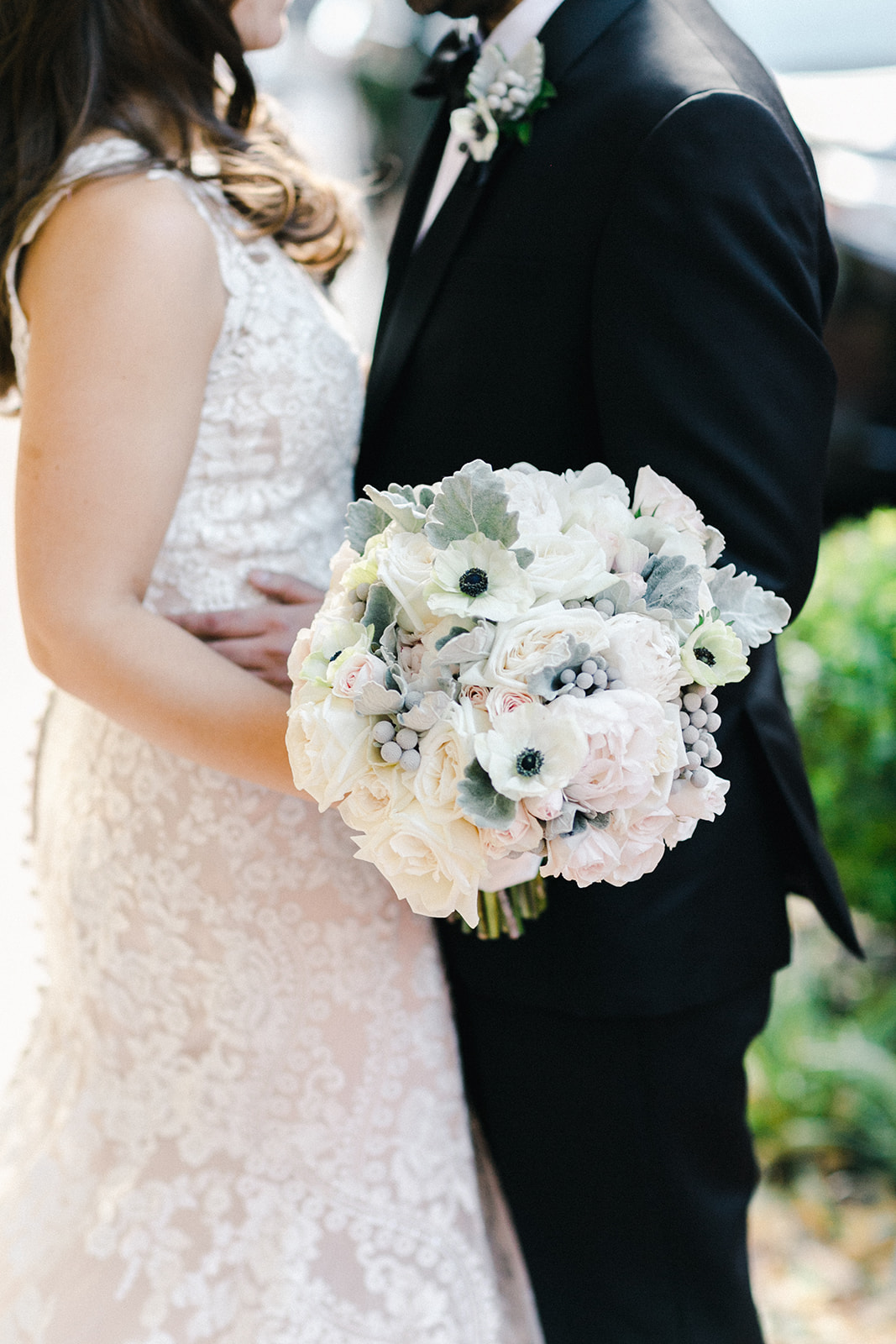 Blush white and gray bouquet by B Floral DC