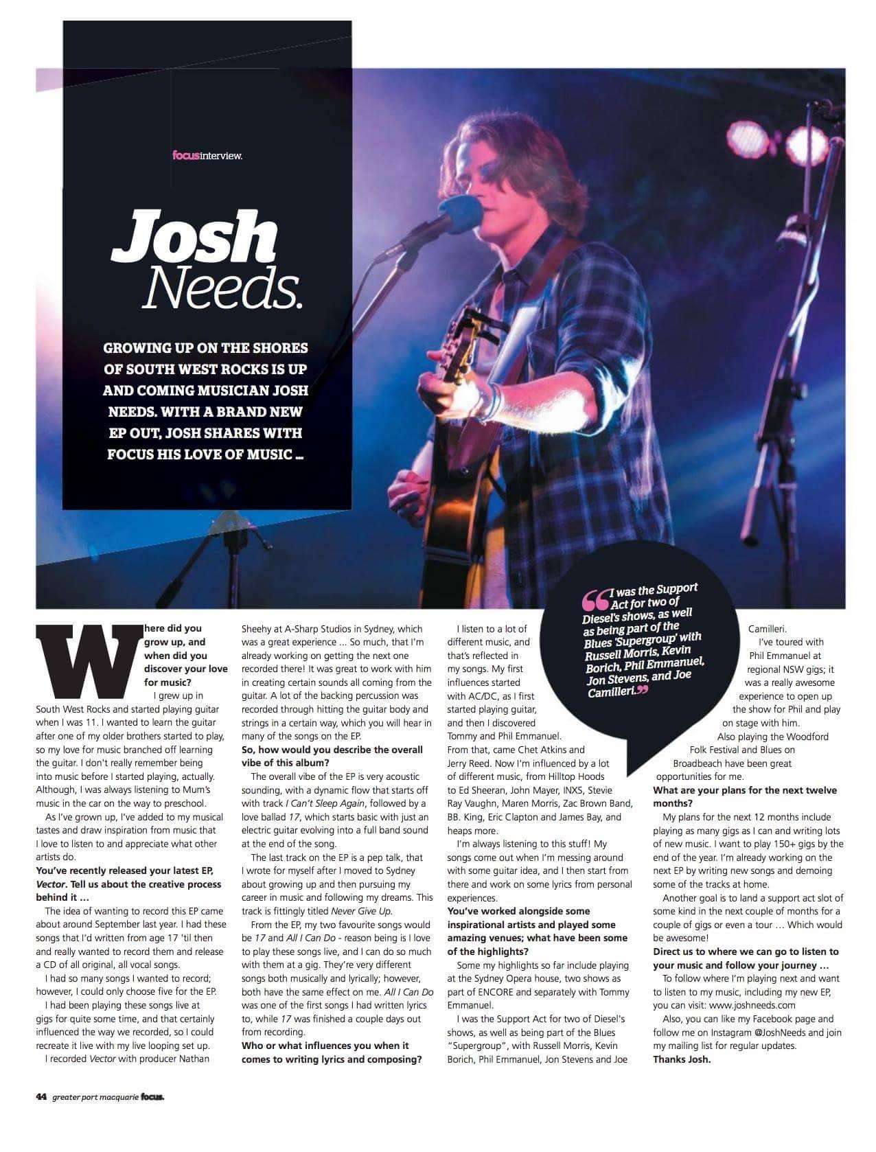Josh Needs in Focus Magazine -