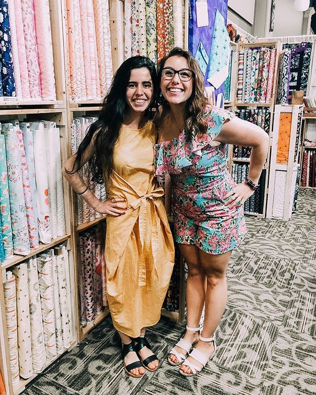 This summer one of our members, Margaret, has been working at Smile Spinners. Smile Spinners is a sewing boutique and classroom near Harrisburg, PA where she taught classes, designed patterns, and sold fabric! She is pictured here with her boss, Jessica, at her first trade show!!