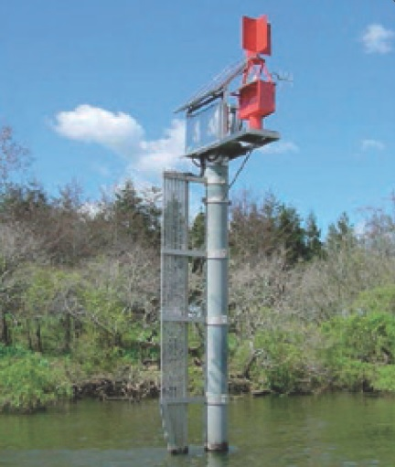 This is one of several monitoring posts in the Waikato River at the point 1 km downstream from the Huntly Power Station discharge point. Keep in mind that at the time this power station was built there was no consideration then to Auckland people one day drinking water from this river.