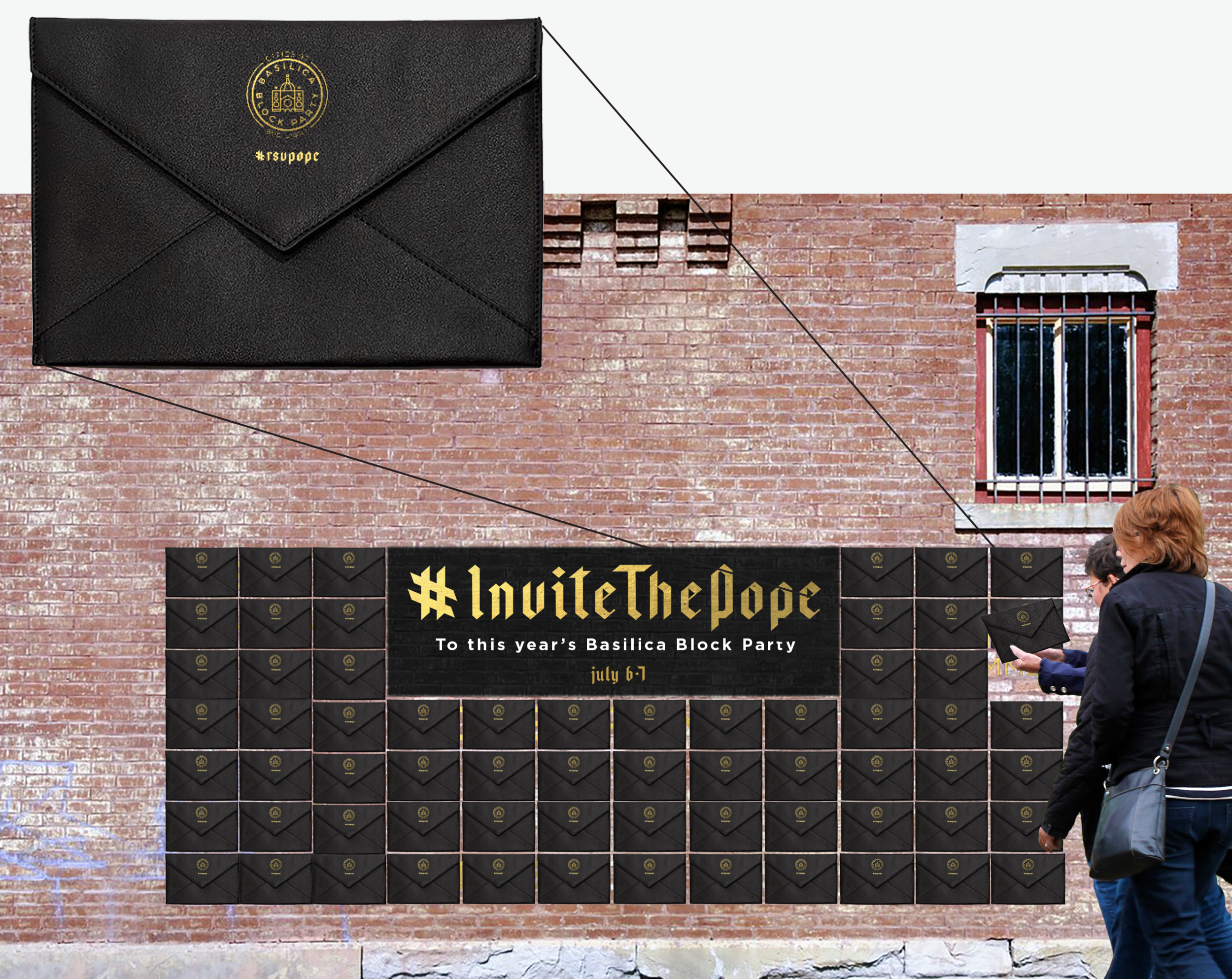 Experiential - People can also interact with a mural featuring hundreds of pre-stamped invitations, soon bound for the Vatican. As invitations are removed, the band line-up is slowly revealed.