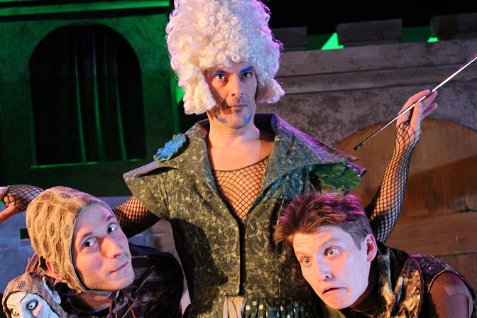 Wart (William Schuller), Aquanetta (Matthew Woods), and Leech (Michael Chodos) in the 2015 Winter Panto, K erplop!    (Michael Underhill)