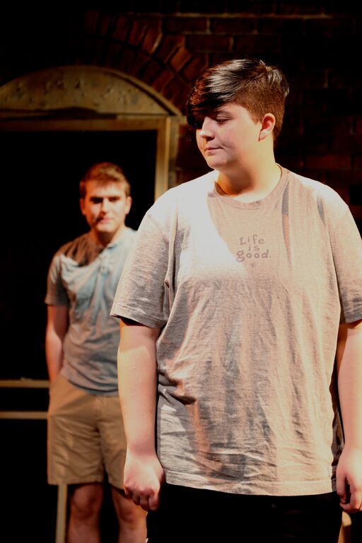 Devon (Brian ott) and Josh(Aaron Piracini) in Boston Teen Acting Troupe's i don't know where we're going but i promise we're lost . (PHOTOGRAPHY BY MATT MCKEE).