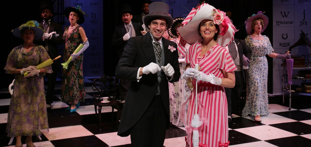 Freddy Eynsford-hill (Jared Troilo) and Eliza Doolittle (Jennifer Ellis), along with the Ensemble of  My Fair Lady , giddily Enjoy an afternoon at the horse races (Photo by Mark S. Howard).