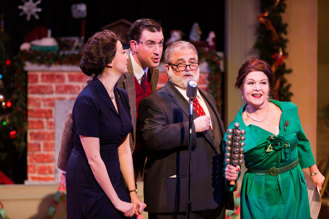 """(From Left)Kitty McNally (Meredith Stypinski*), Danny """"The Kid"""" Frank (Mark Linehan*), P.B. Frank (William Gardiner*), and Yolanda Frank (Margaret Ann Brady*) beguile us with song and laughter in Stoneham Theatre's  Christmas on the Air . (* Denotes Member of Actors' Equity Association) (Photo Credit: Nile Hawver/Nile Scott Shots)."""