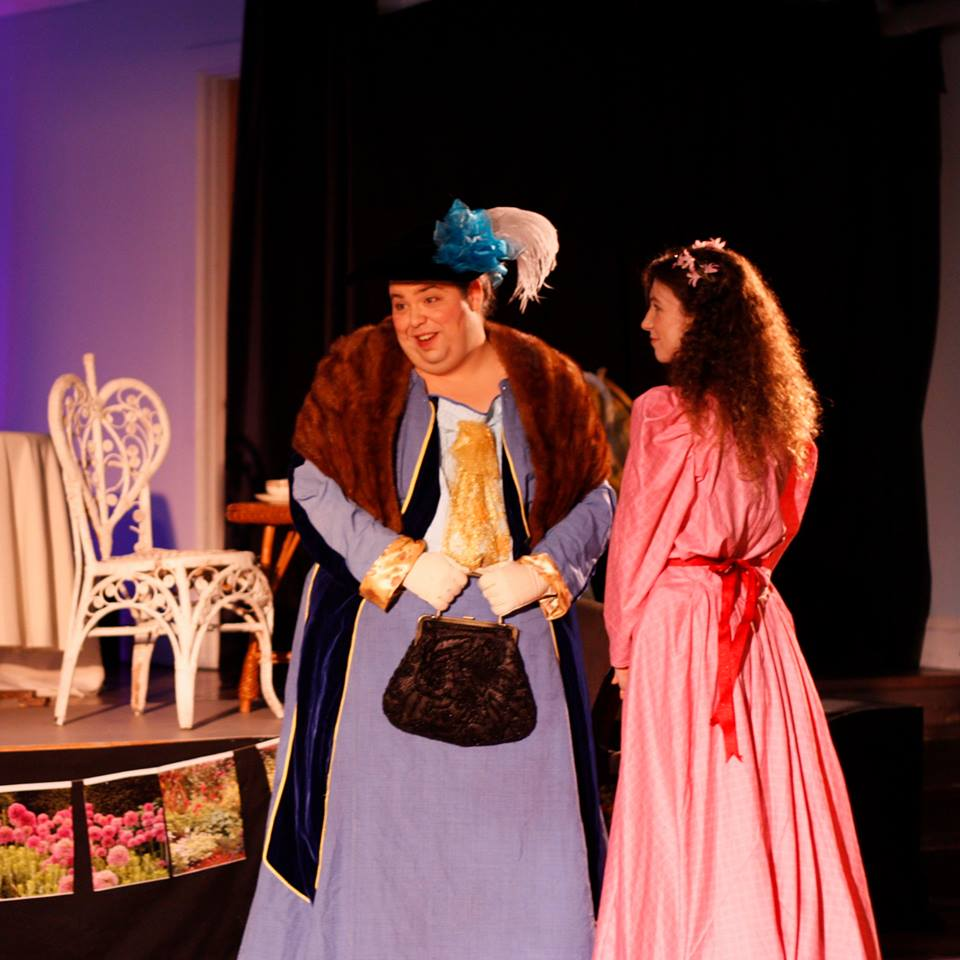 J. Deschene as Lady Bracknell and Annie Hochheiser as Cecily Cardew in Theatre@First's  The Importance of Being Earnest (Photo Credit: Katrina DeFrancesco)
