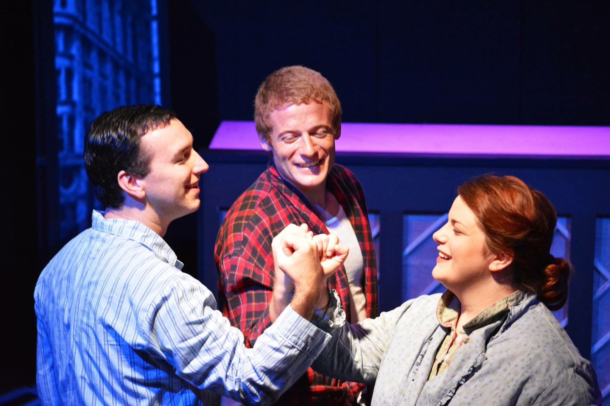 (From left): Charley Kringas (Adam Schuler), Franklin Shepherd (Jared Walsh), and Mary Flynn (Andrea Giangreco) make a pact for their future friendship in The F.U.D.G.E. Theatre Company's  Merrily We Roll Along  (Photo Credit: Matt Phillipps)