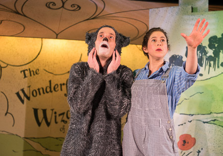 Toto (William Schuller) and Dorothy (Sarah Gazdowicz) dream of a life outside of Kansas in imaginary beasts' 2016 Winter Panto, The Wonderful Wizard of Oz  (Photo Credit: Diane Anton).