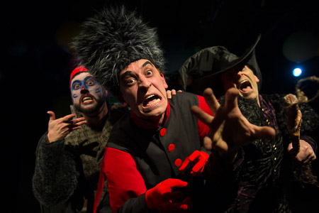 Eppe Peppe (Mikey DiLoreto);O.E.O., the Captain of the Winkie Guard (Noah Simes); and Momba, the Wicked Witch of the West (Matthew Woods) cackle with laugher and menace in imaginary beasts' The Wonderful Wizard of Oz  (Photo Credit: Diane Anton).
