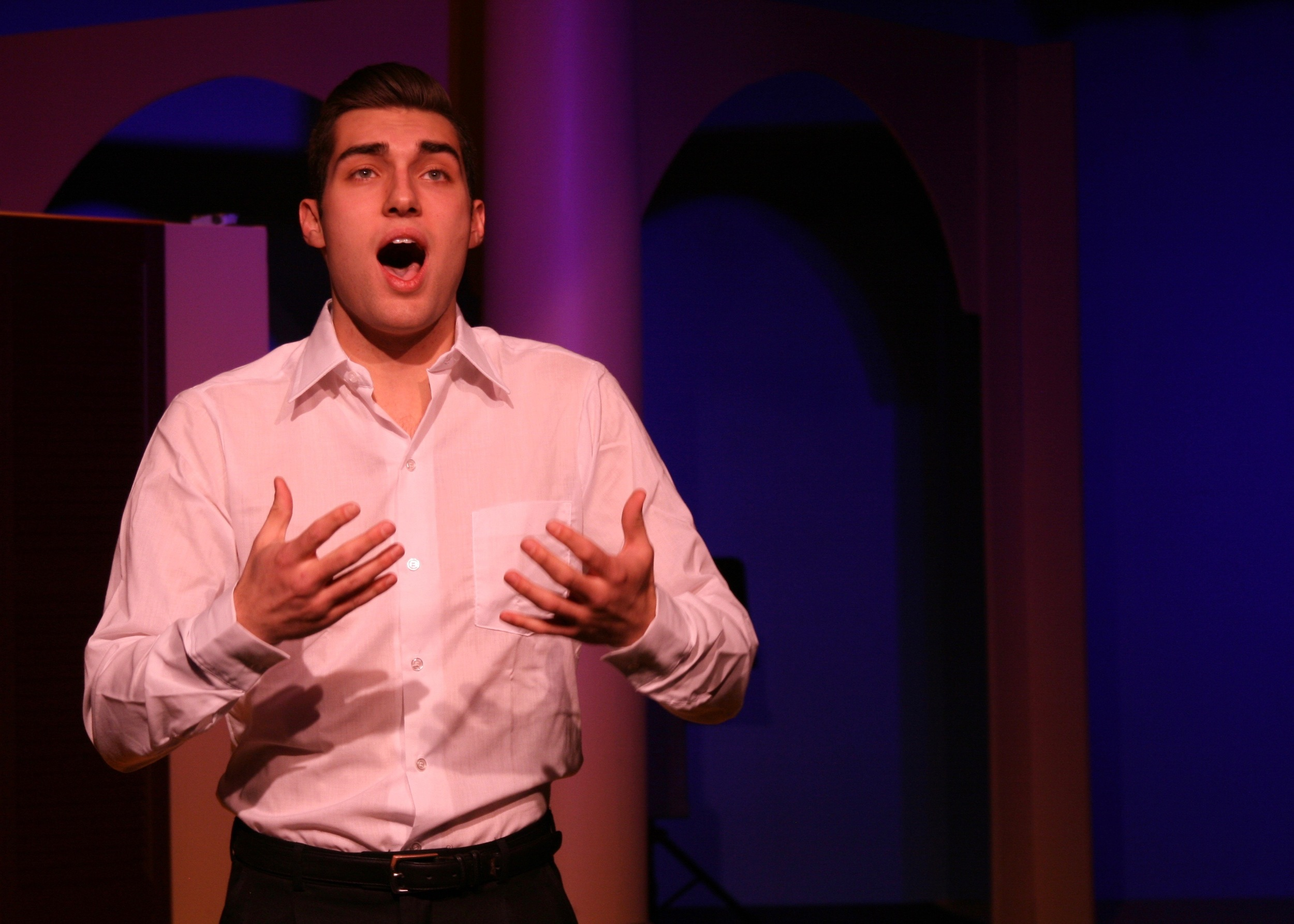 Fabrizio Nacarrelli (Serge Clivio) sings passionately in Next Door Theater Company's  The Light in the Piazza .