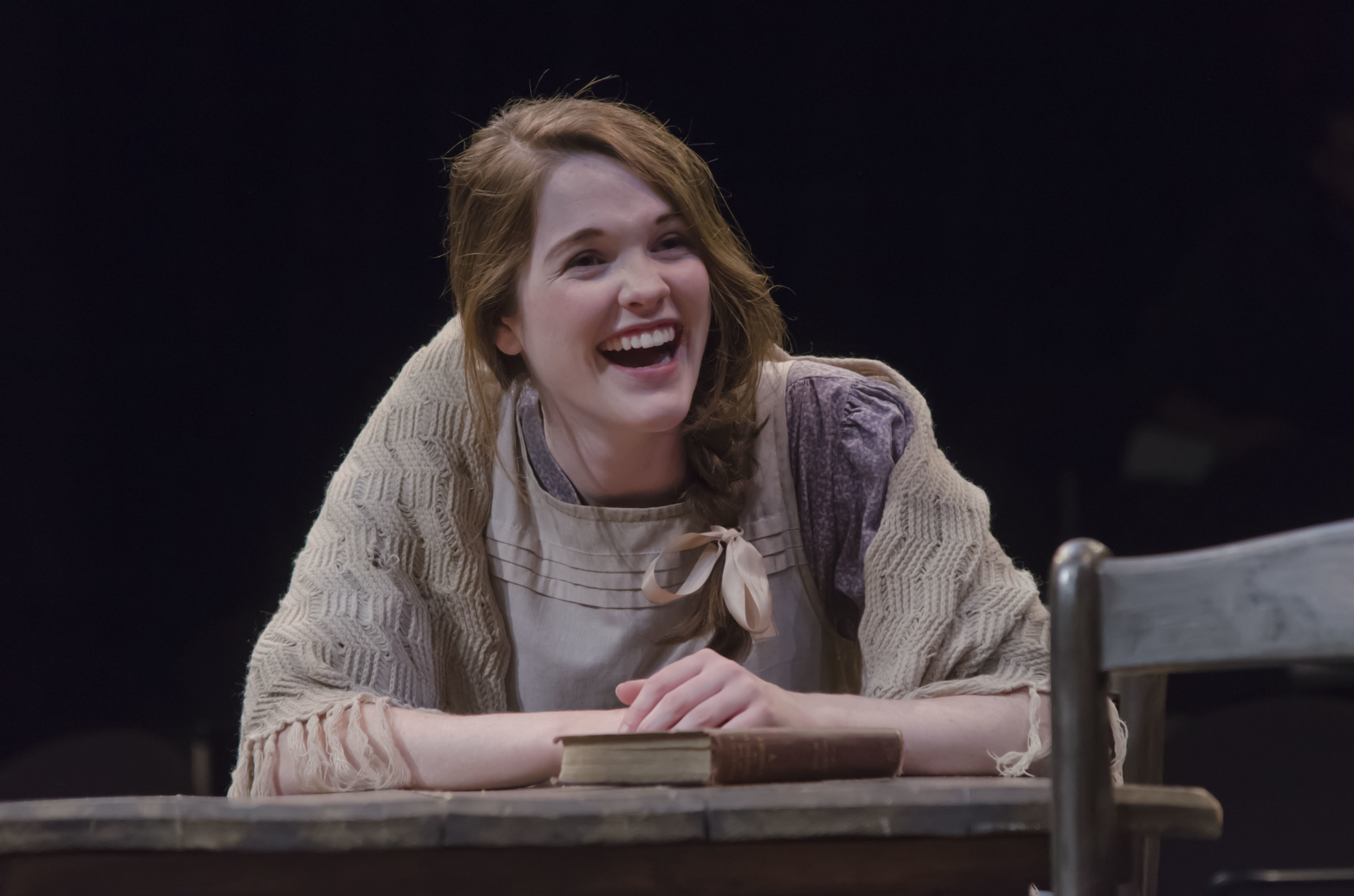 Helen McCormick (Tricia O'Toole) has a quick laugh and a sharp tongue in Boston University College of Fine Arts'  The Cripple of Inishmaan  (Photo Credit: Thomas Martin).