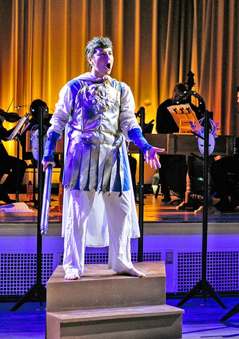 Rinaldo (Sophie Michaux) in the Boston Opera Collaborative's  Rinaldo (Photo Credit:   Dan Busler Photography  ).