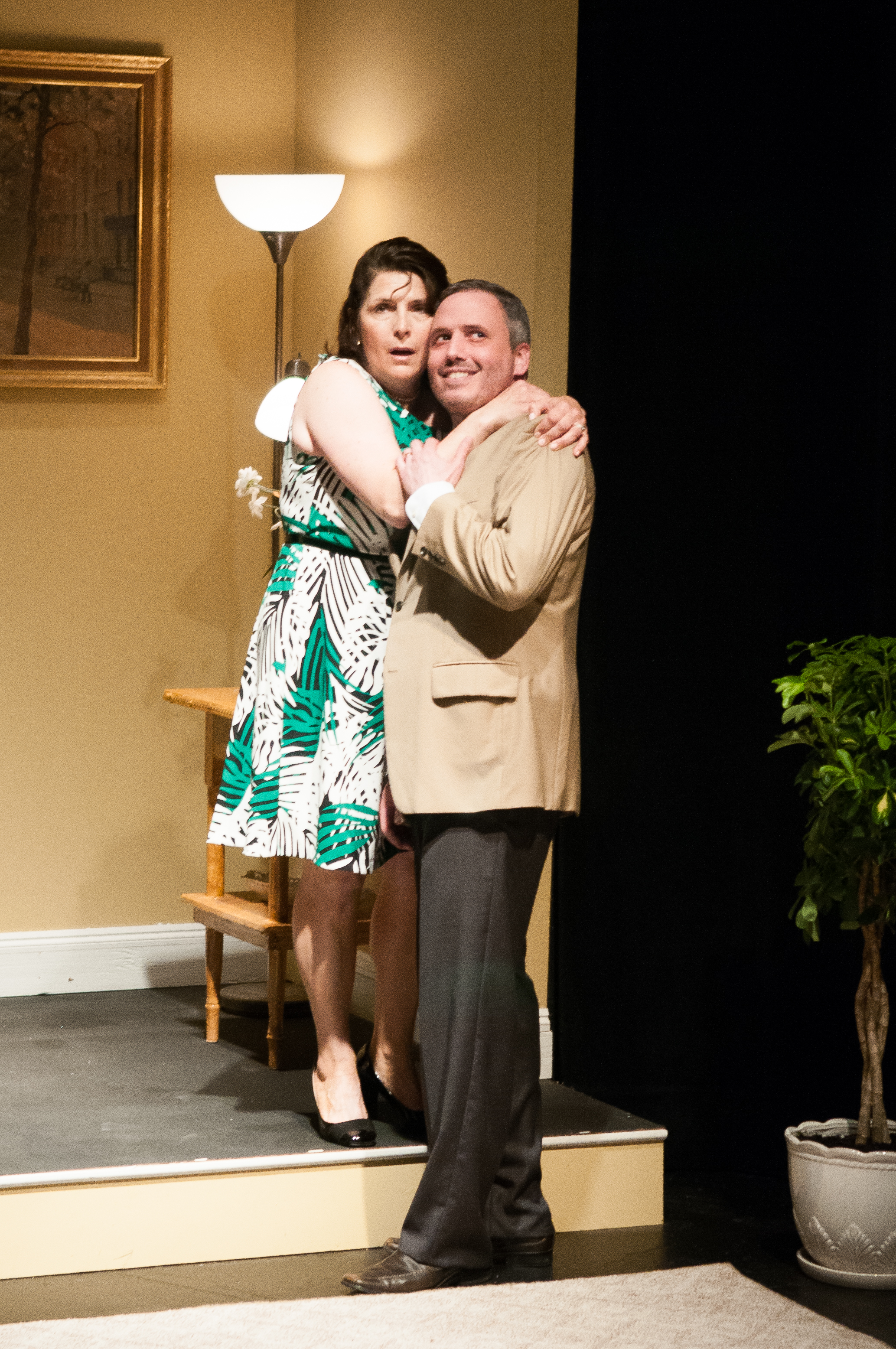 Stevie (Veronica Anastasio Wiseman) and Martin (Steven L. Emanuelson) pose in silence in Bad Habit Productions'  The Goat, Or Who is Sylvia?  (Photo Credit:   Paul Cantillon  ).