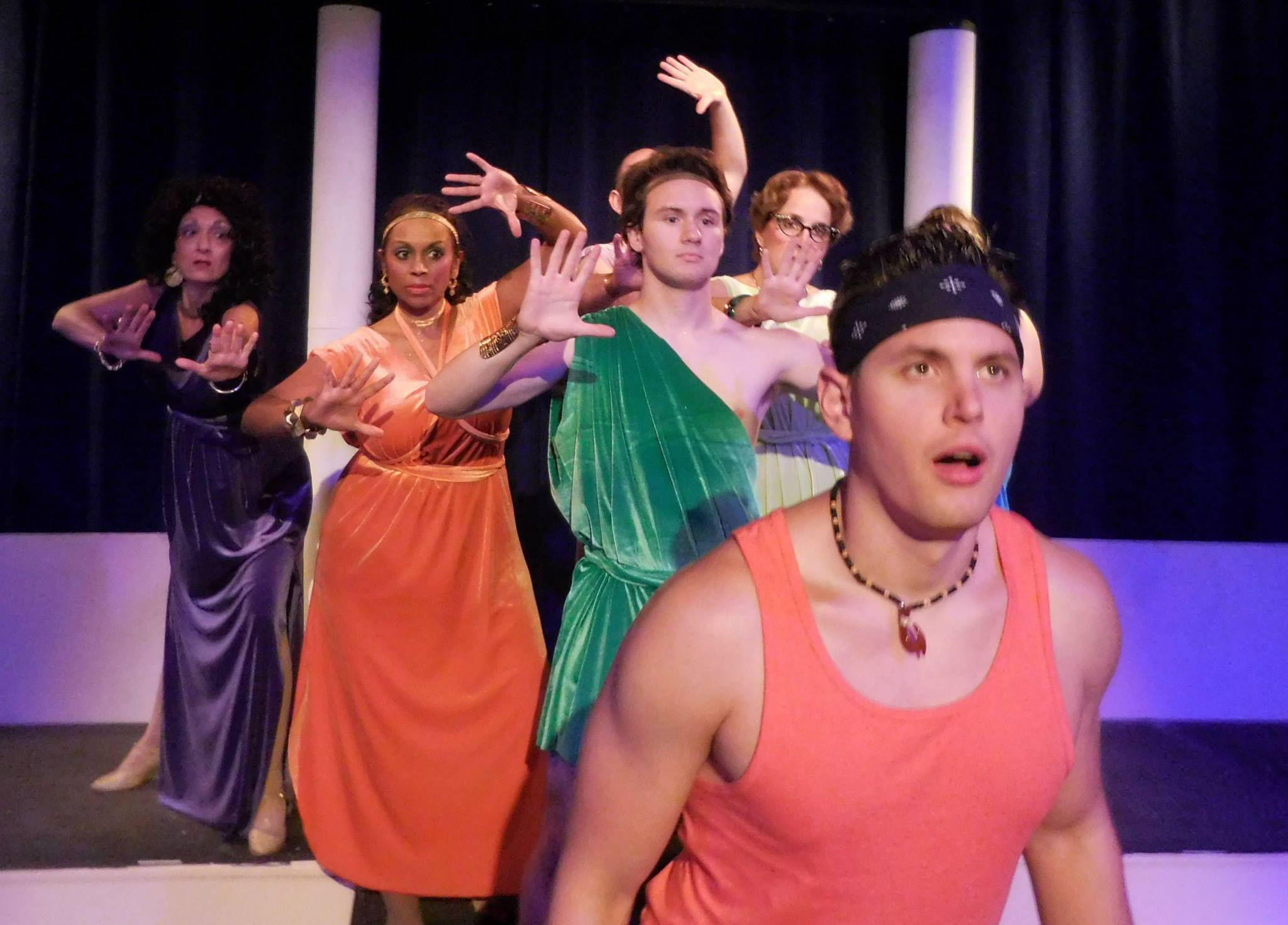 Cody Ingram as Sonny Malone in Moonstruck Theater Company's  Xanadu  (Photo Credit: Christopher Brousseau).
