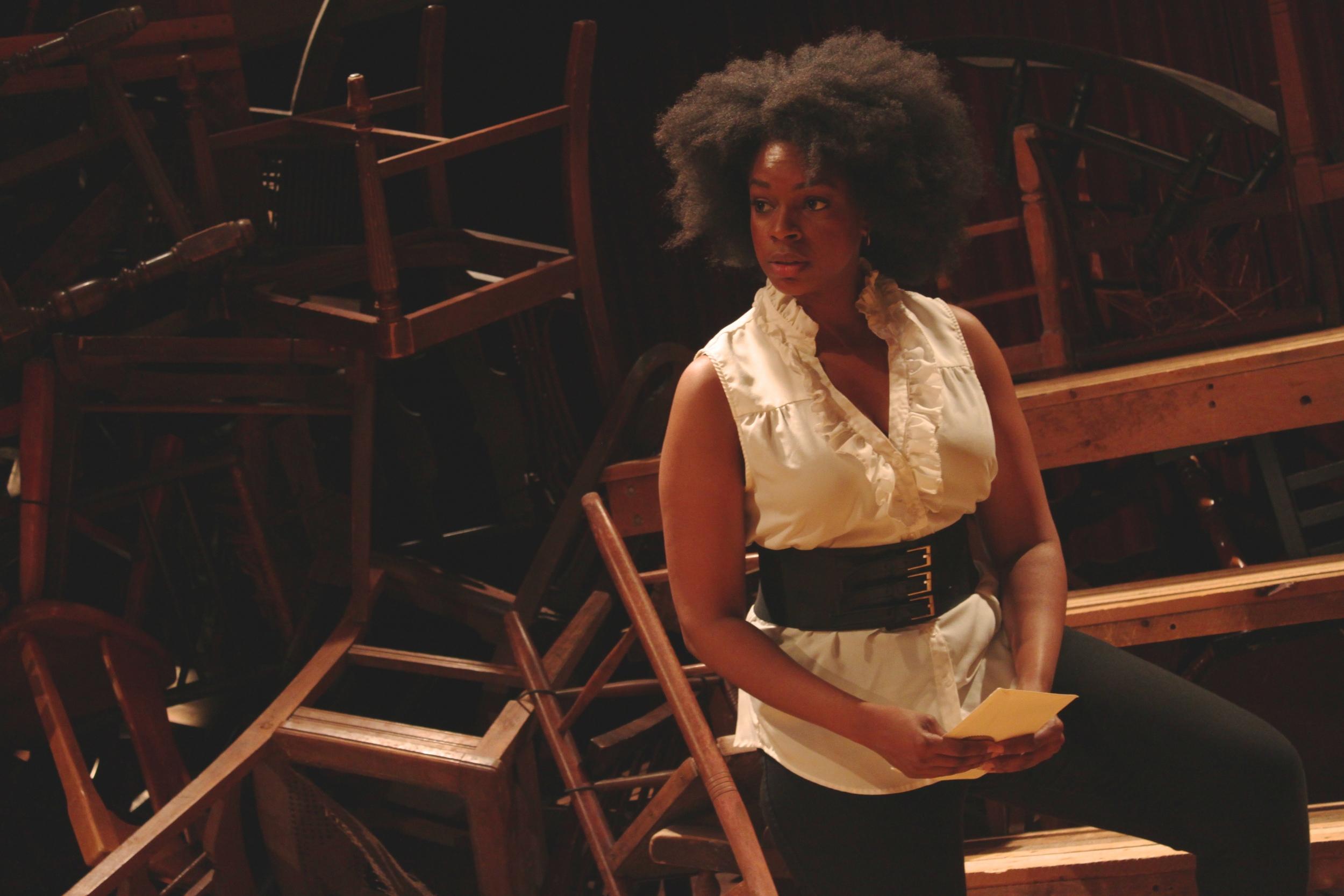 Marc Antony (Tiffany Nichole Greene*) in Bridge Repertory Theater of Boston's  Julius Caesar (Photo Credit:   Marc Franklin  ) (* Denotes a Member of Actors' Equity Association).