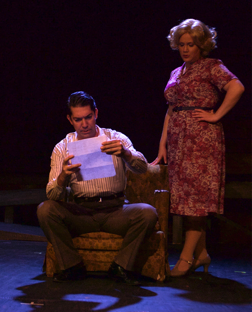 Buck Barrow (Tim Mcshea) and Blanche Barrow (Sarajane Morse Mullins) in The Umbrella's  Bonnie & Clyde (Photo Credit: Meghan Donnelly).