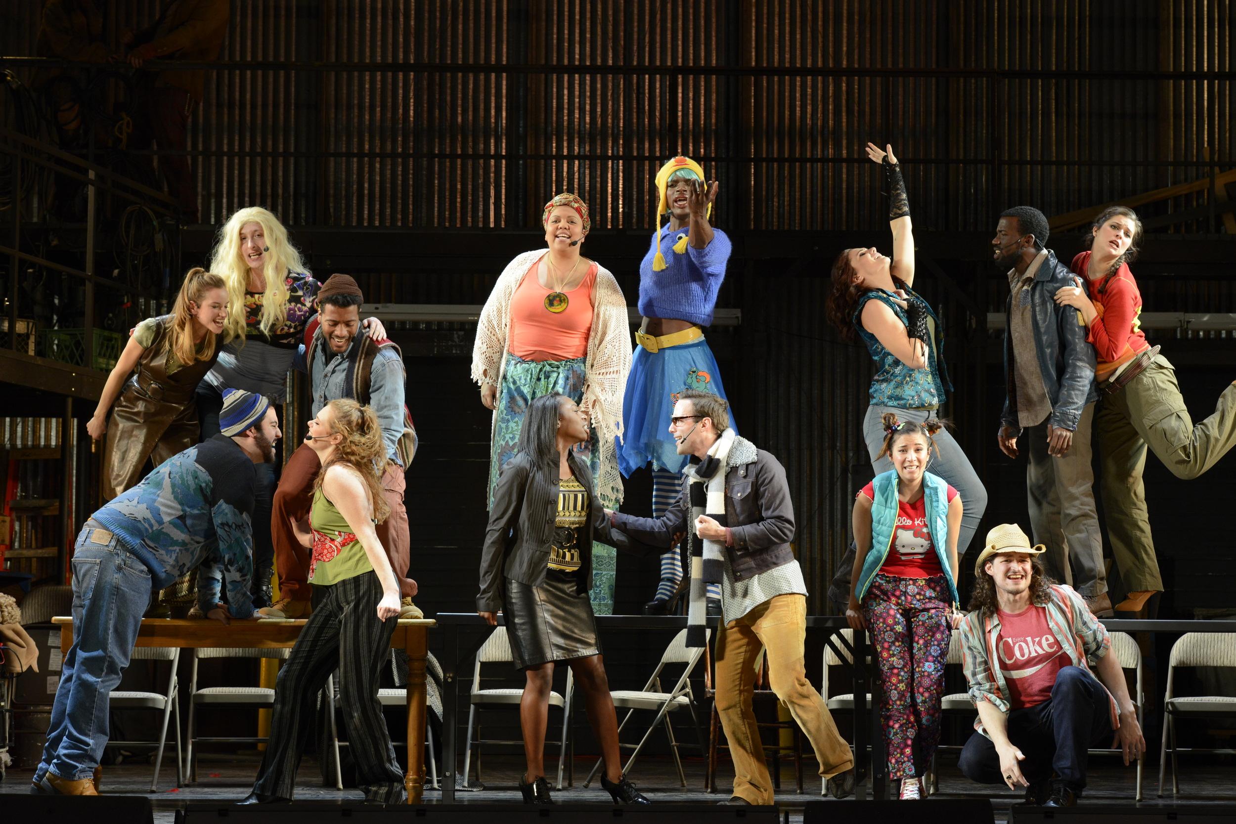 """The cast performs """"La Vie Boheme"""" in Fiddlehead Theatre Company's  Rent (Photo Credit: Fiddlehead Theatre Company/Eric Antoniou)."""