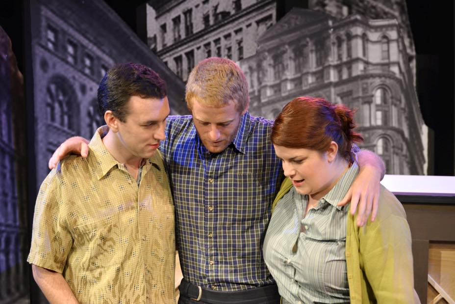 Charley Kringas (Adam Schuller), Frank Shepard (Jared Walsh), and Mary Flynn (Andrea Giangreco) in  The F.U.D.G.E. Theatre Company 's  Merrily We Roll Along  (Photo Credit:   Matt Phillipps Photography  ).