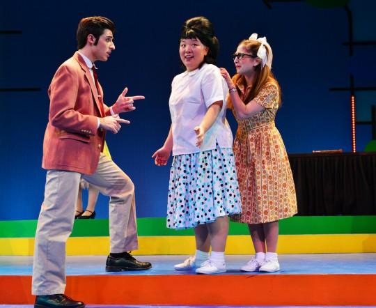 Jenna Lea Scott with Michael Notardonato and Jennifer Beth Glick in  Hairspray at  Wheelock Family Theatre  (Photo credit:  Gary Ng ).