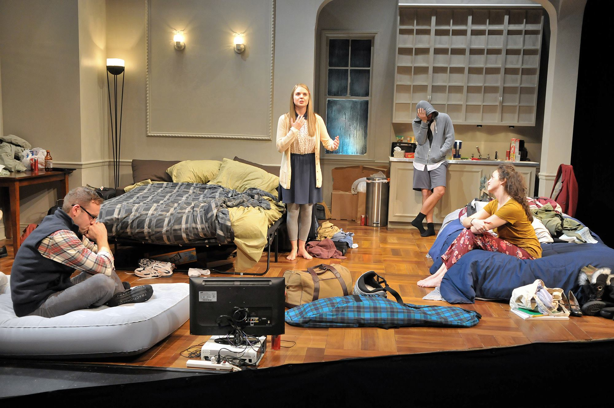 Gillian Mariner Gordon with Victor Shopov, Alison McCartan and Alex Marz in   Bad Jews  at  SpeakEasy Stage Company  (Photo Credit:  Craig Bailey/Perspetive Photo ).