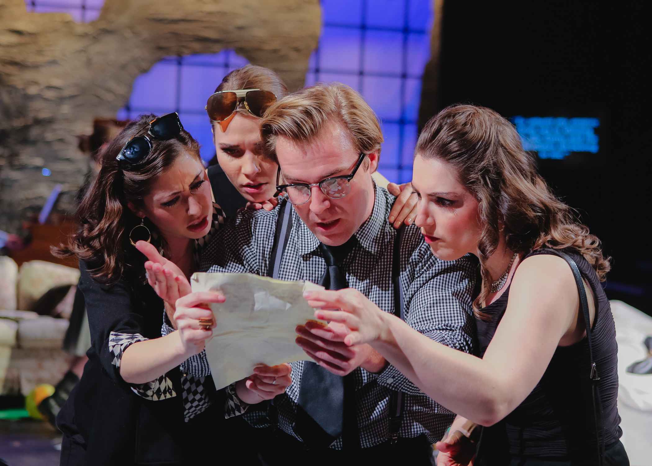 (From Left to Right): Tascha Anderson, Emma Sorenson, Dustin Damonte, and Bethany Worrell in a scene from  Four Sisters  (Photo Credit: Dan Busler).