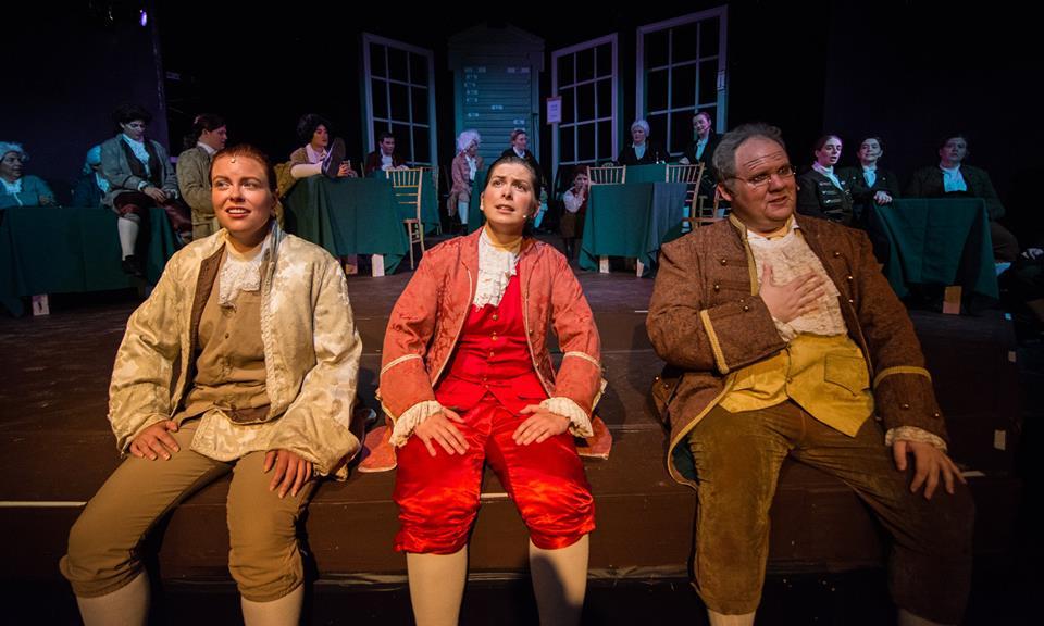 "thomas jefferson, john adams, and benjamin franklin sing about ""the egg"" in  Mit gilbert & sullivan players '  1776  (Photo Credit: Eurah joanna ko)."