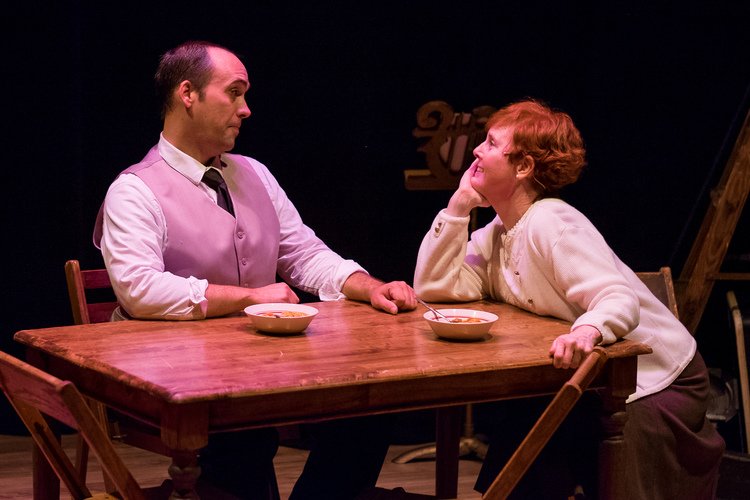 Alfie ( Magierowski-Howe ) and Lily ( O'Donnell ) talk over a meal in  Bad Habit Productions '   A Man of No Importance   (Photo Credit:  Earl Christie Photography ).