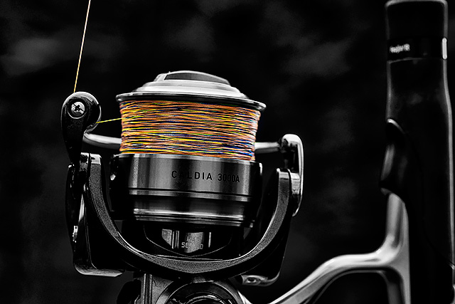 The 0.13mm/18lb multi colour J-Braid loaded onto the Daiwa Caldia 3000-A spinning reel
