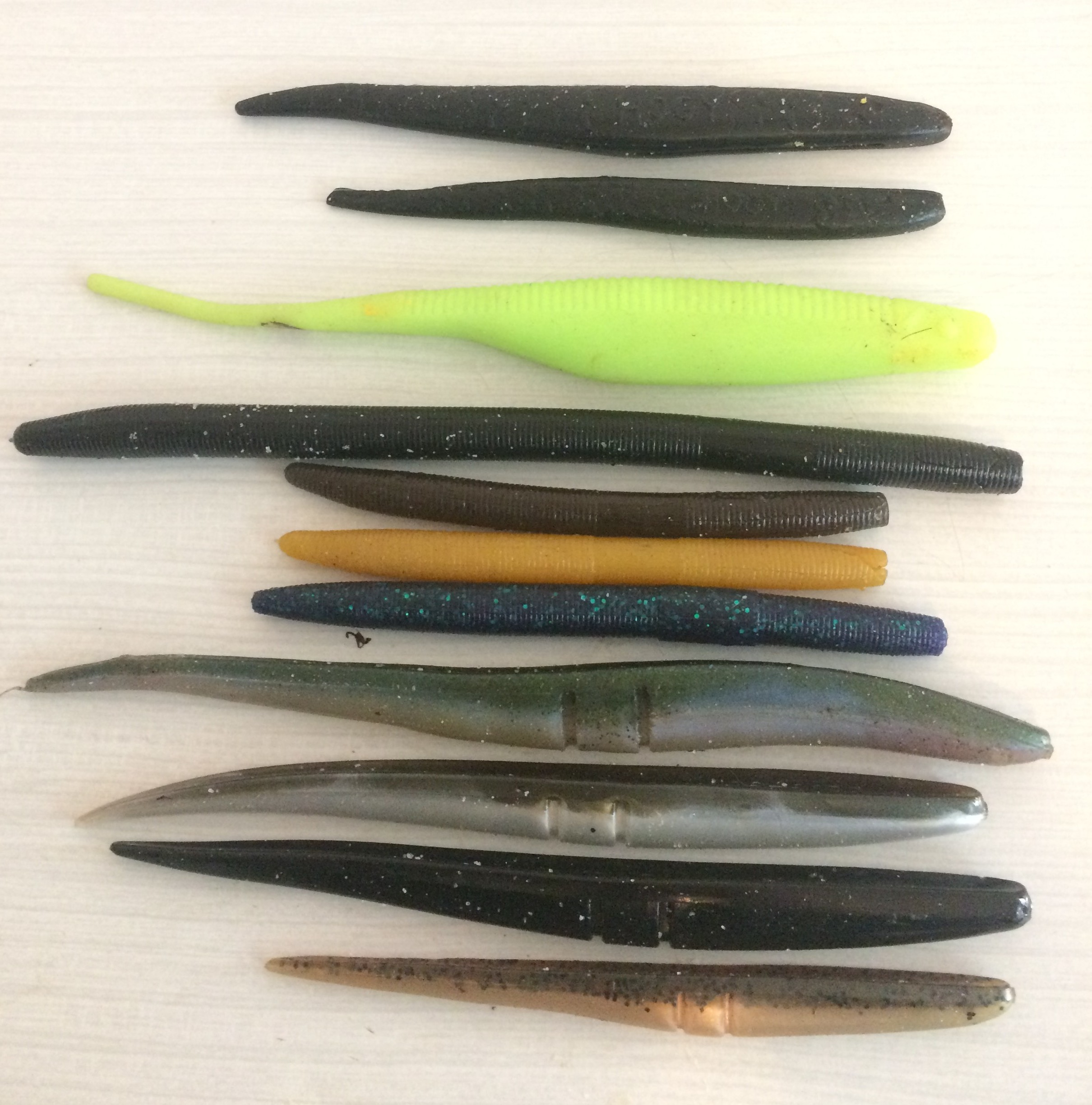 A selection of soft lures perfect for soft needle