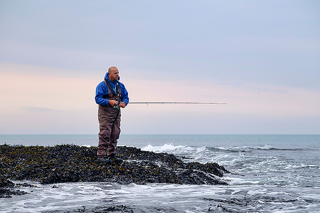 This is the first time I have ever photographed a shore angler wearing a lifejacket