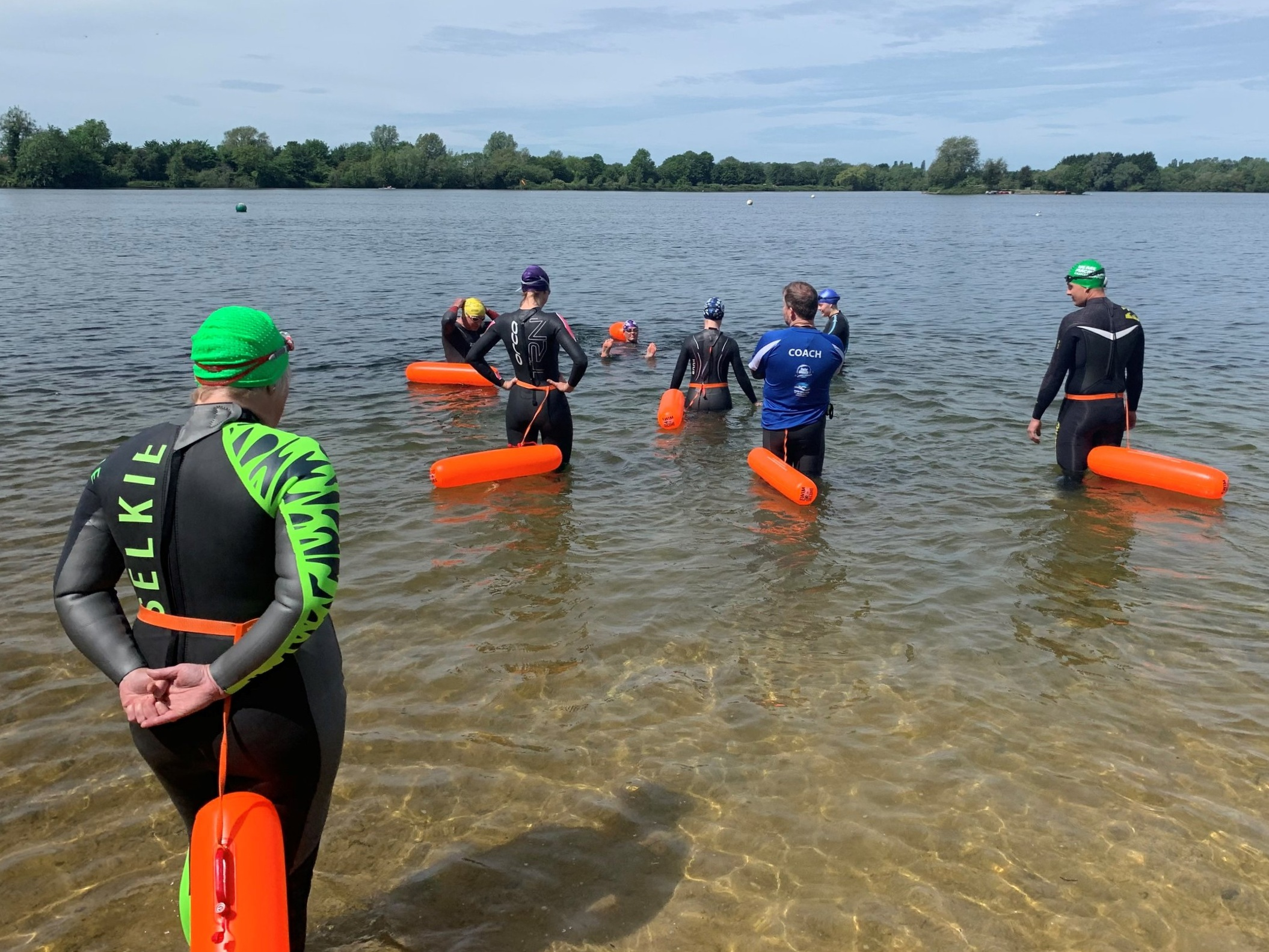 The Tow Woggle in use with  South West Swim  during an Introduction to Open Water Session at the Cotswold Water Park, UK.