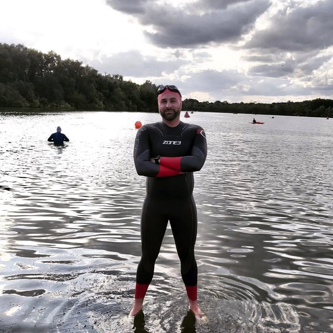 Joe open water swim training at Horseshoe Lake Activity Centre
