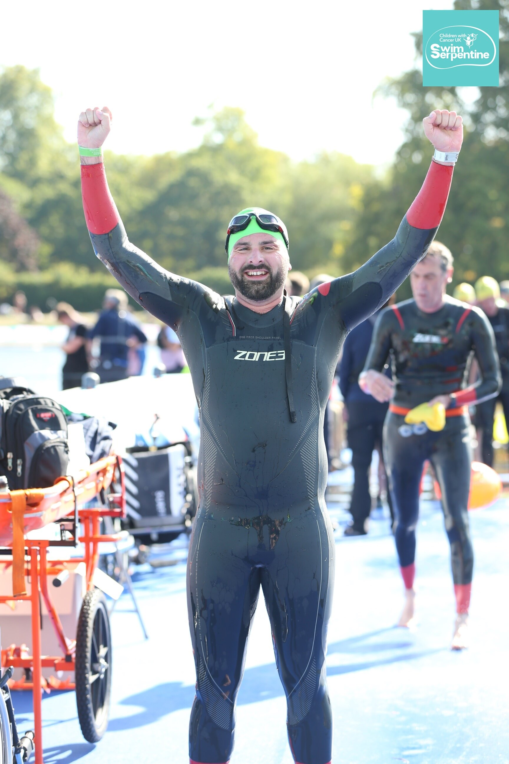 Joe completing the Swim Serpentine and also the London Classics challenge.