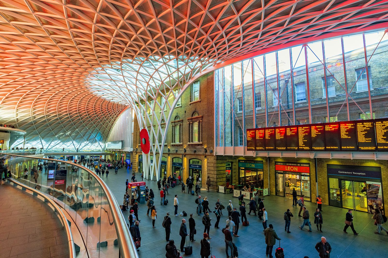 The interior architecture of King's Cross St Pancras Station - FX Scaffolding Services Essex