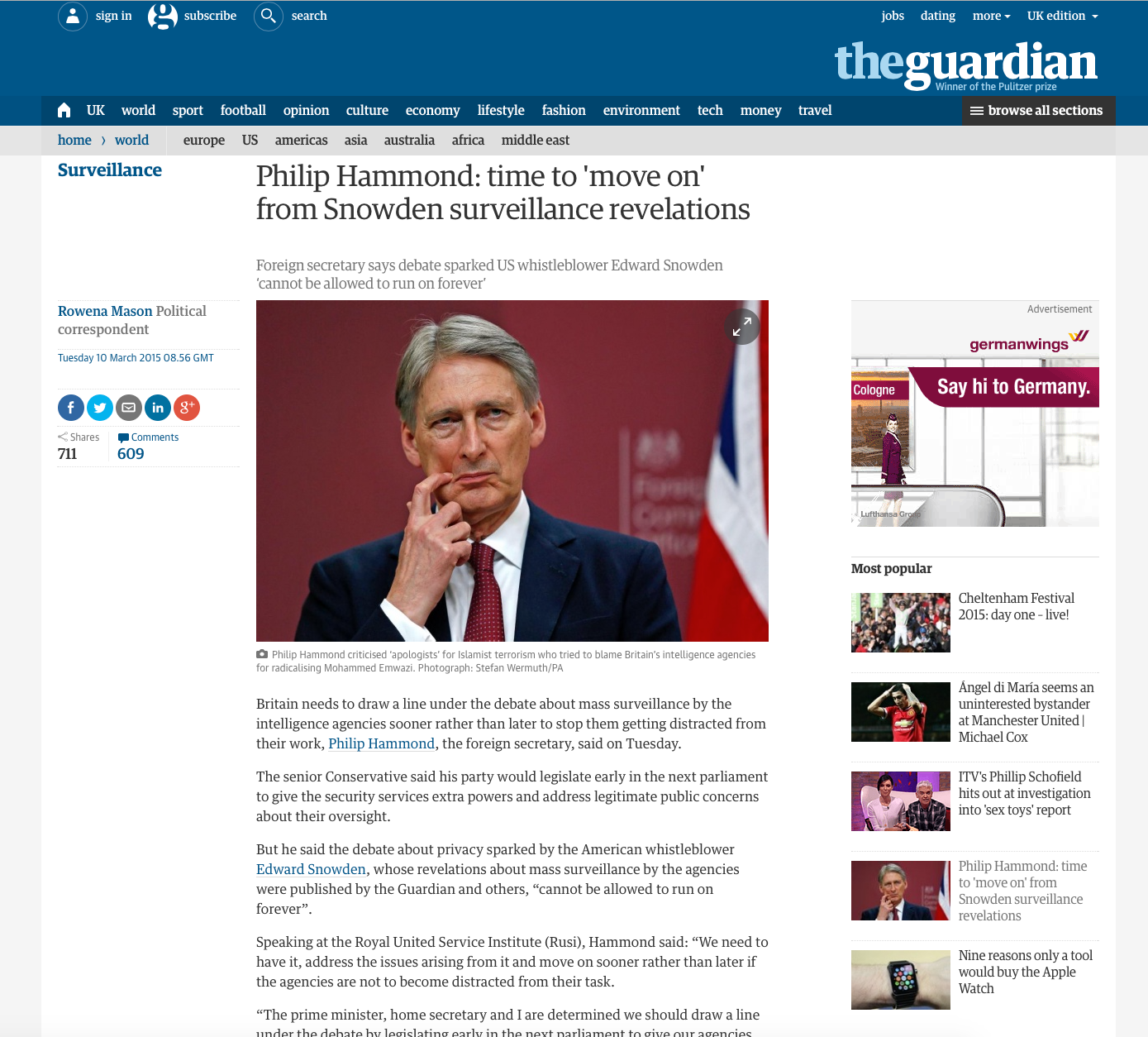 The Guardian's article page has prioritised an Ad unit to ensure it's 100% viewability.