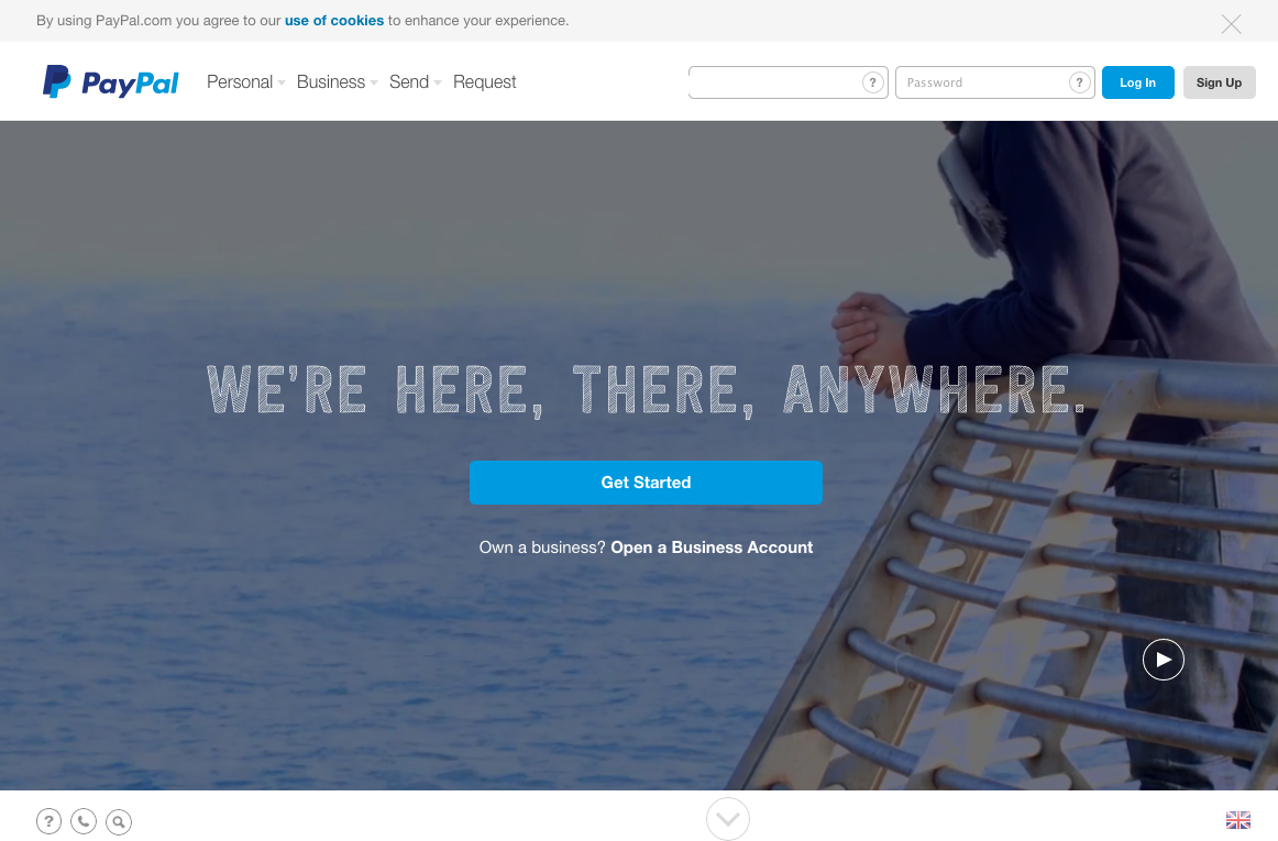 Paypal's homepage looks like there is no fold - so they rely on a user following the direction of that subtle little arrow.