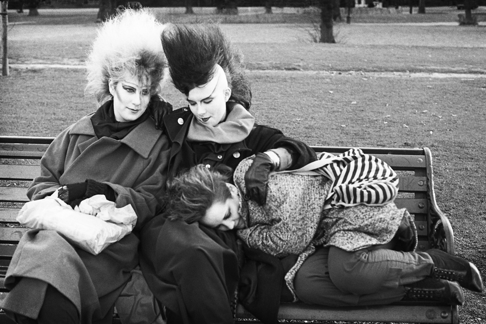 E Sheet 36 Neg 4a. In Skins and Punks. P.106. Chigwell Punk Girls on park Bench.jpg