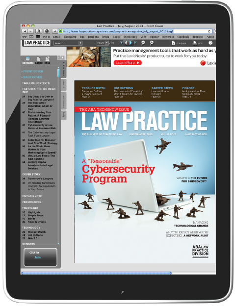 Click on the tablet above to download the  Law Practice  app