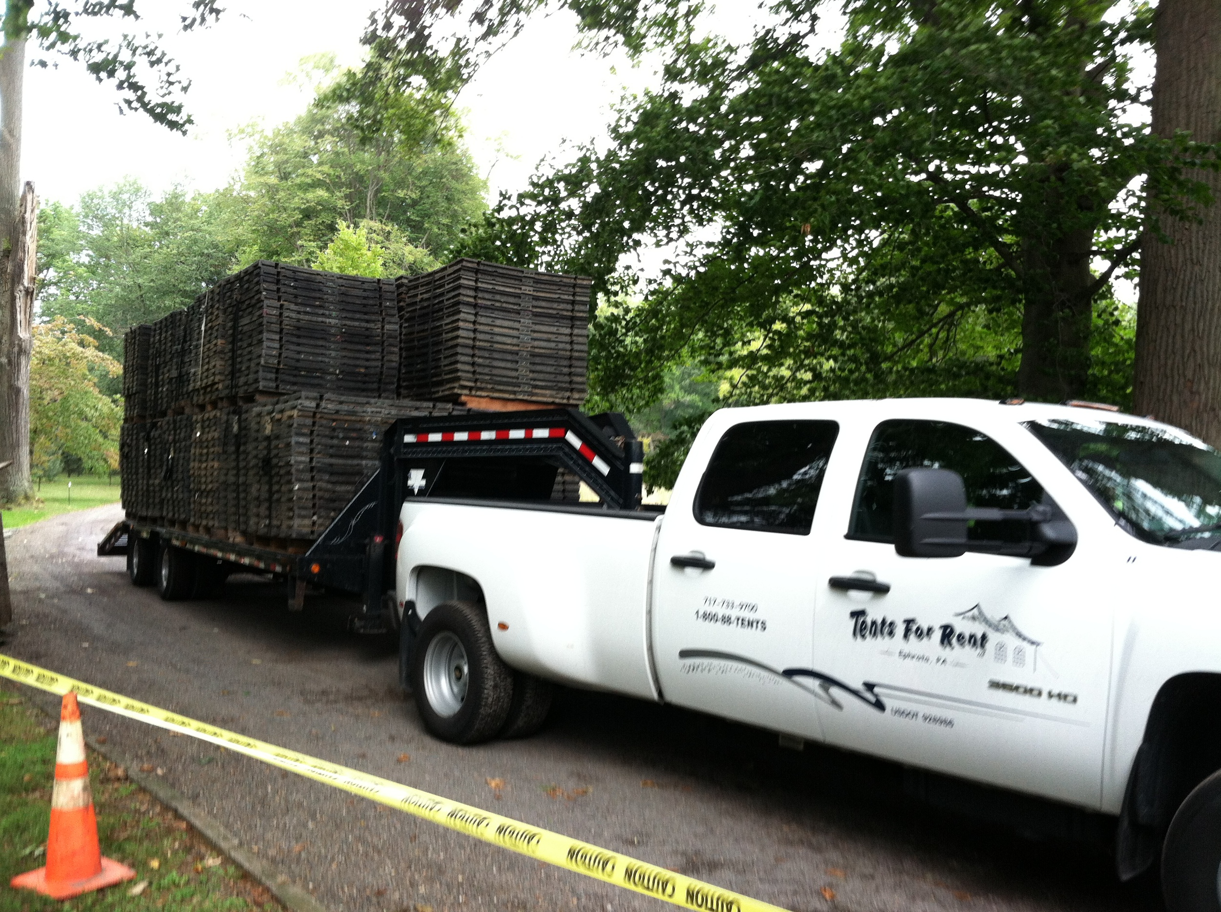 Flooring had to be hauled about one mile off the road by pickup and trailer