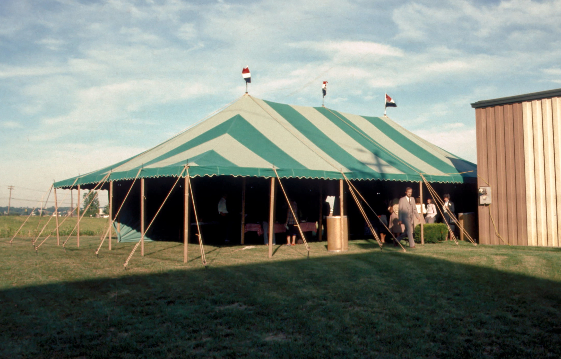 In the early days, we bought tents that were gray and green striped because they didn't show the dirt as quickly.