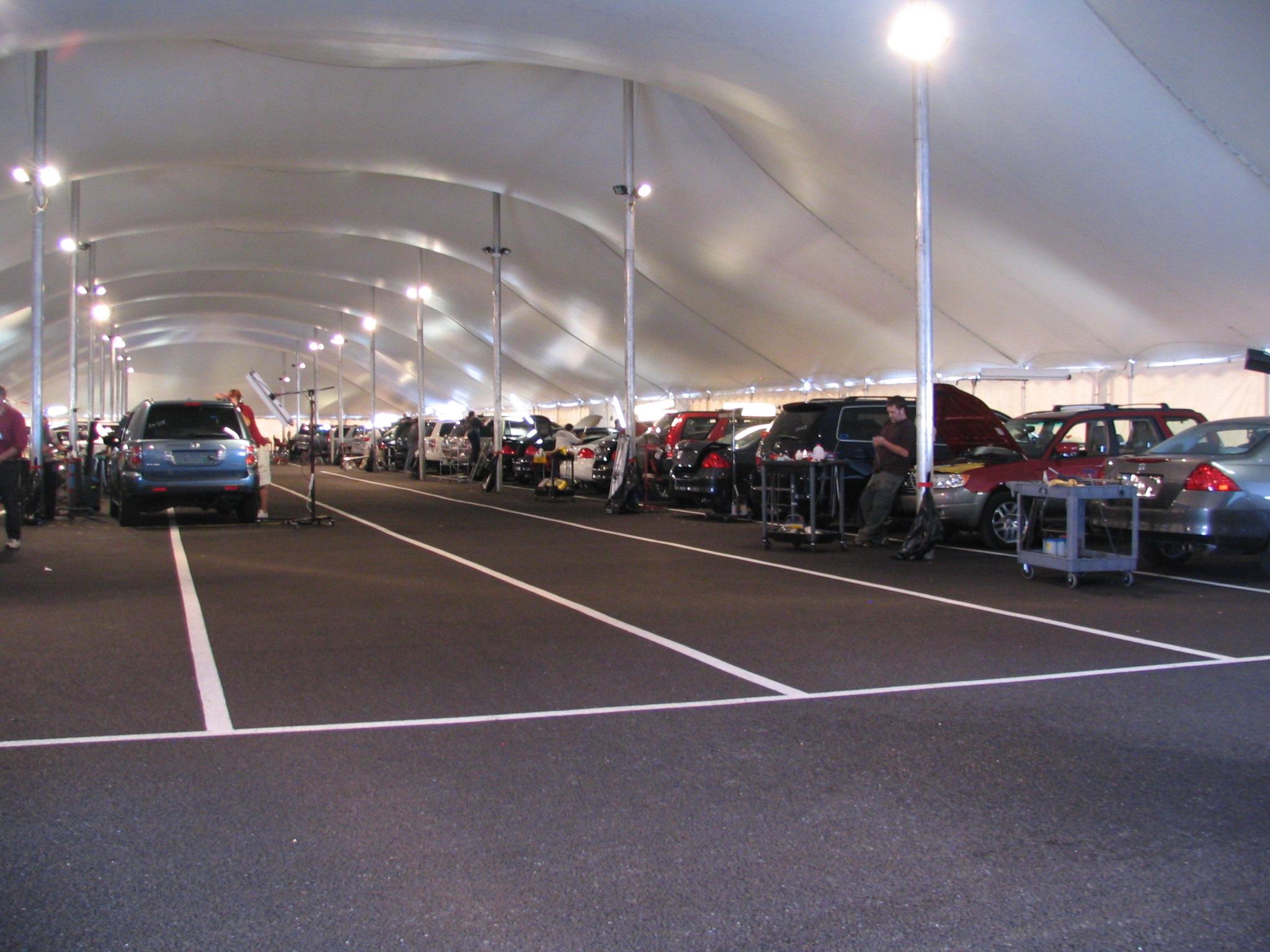 Interior of a Temporary Auto Body Shop Tent