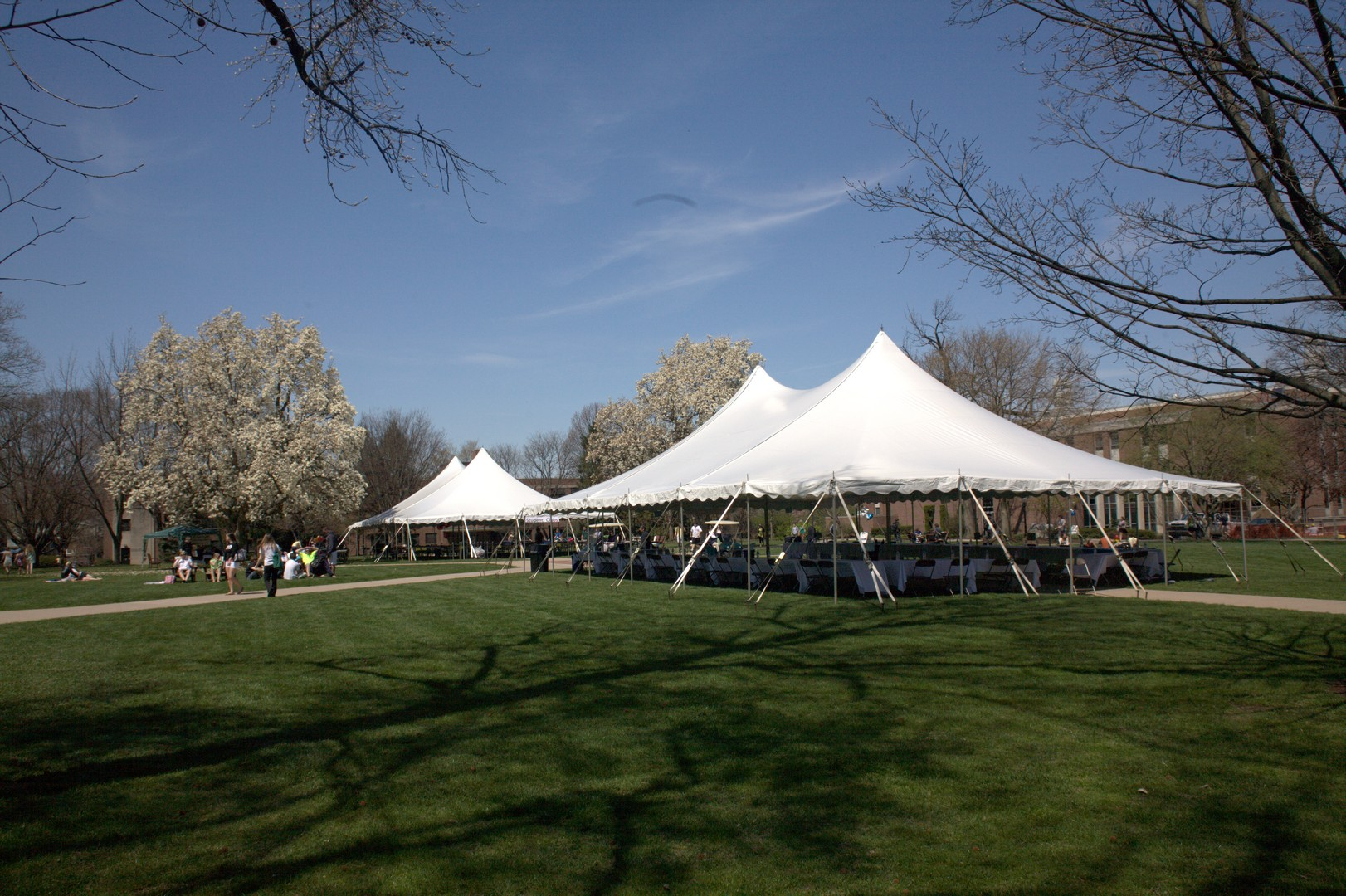 College event tent and stage