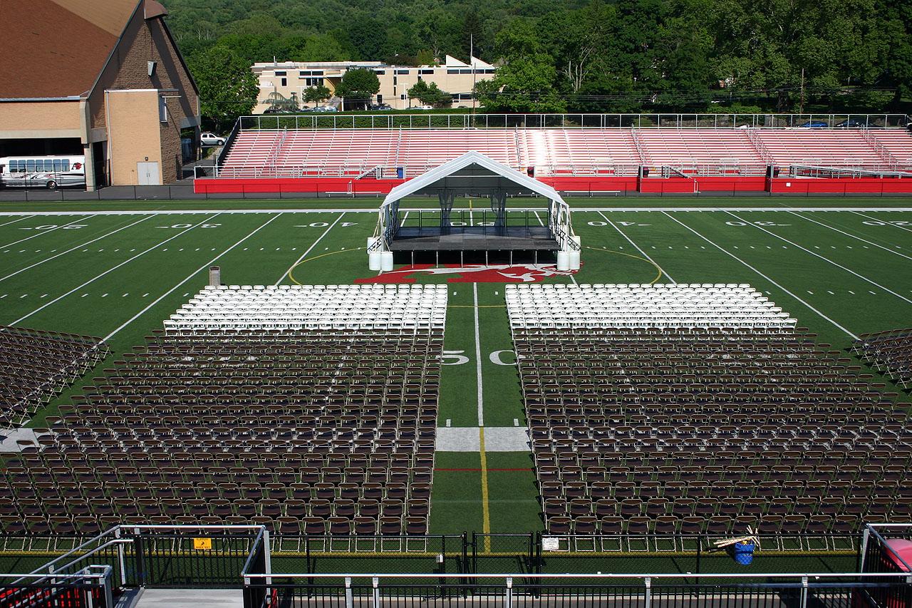 Outdoor university graduation ceremony