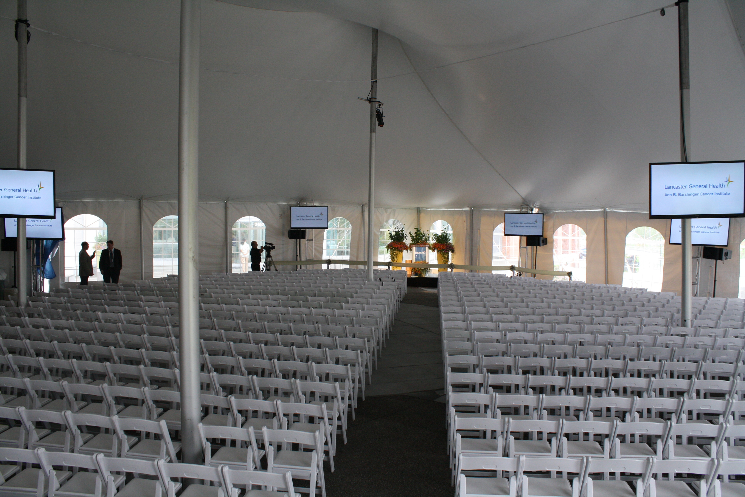 University graduation ceremony tent and chairs