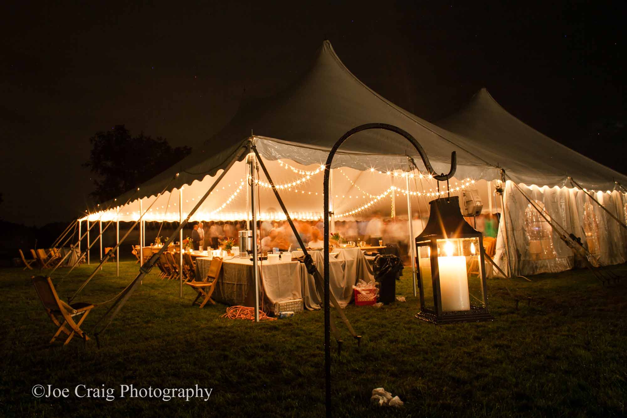 Cafe lights in white tent