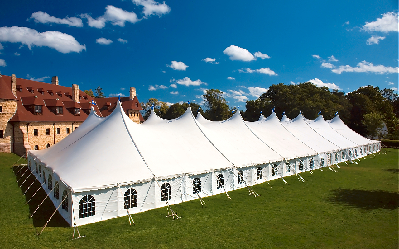 80x220 white tent with cathedral window sidewall