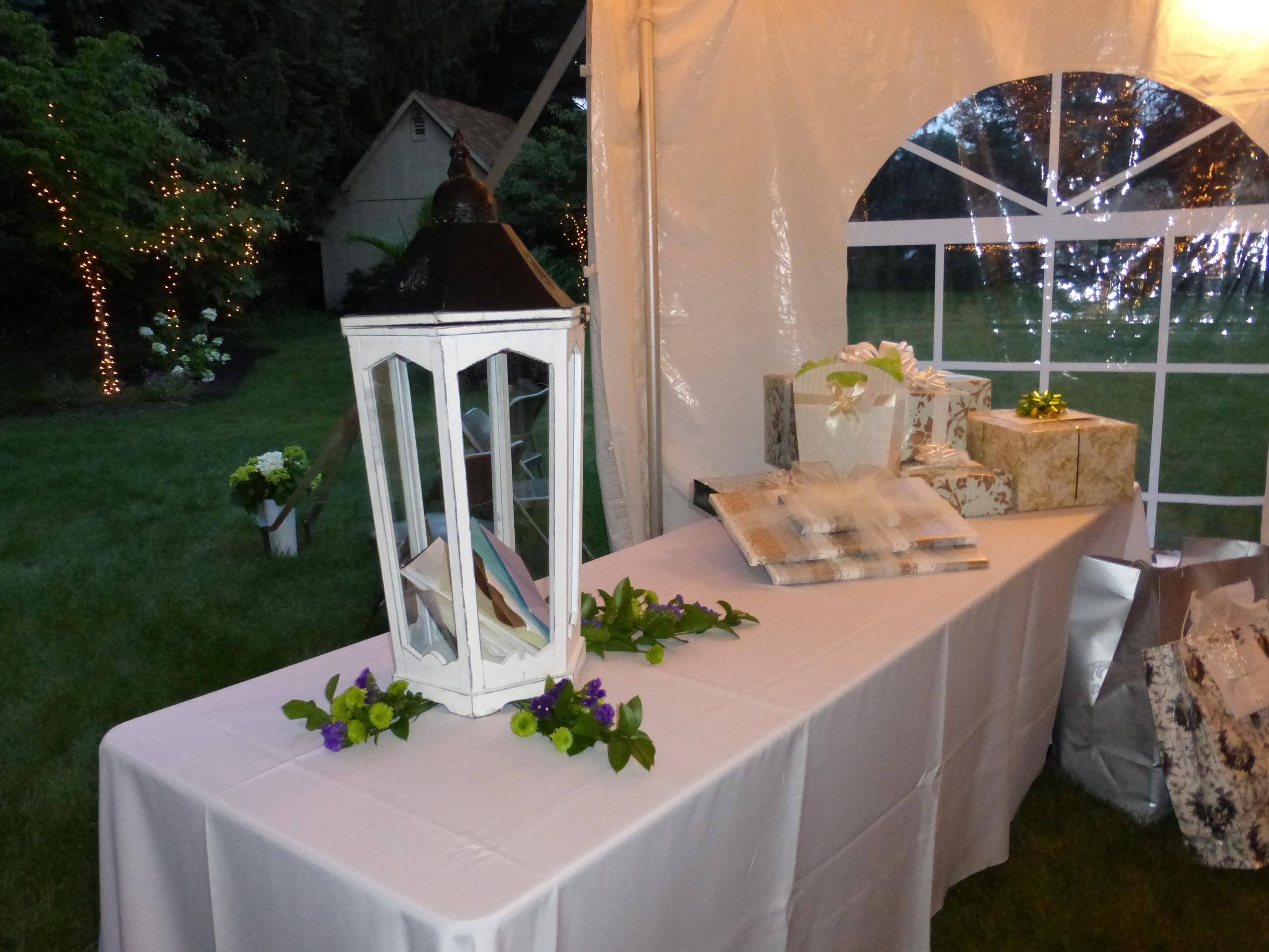 White wedding tent with cathedral window sidewall