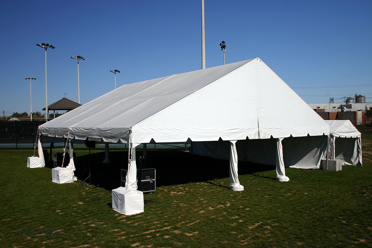 40x40 white frame tent, weighted